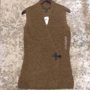 Lauren Ralph Lauren wrap shawl collar sweater vest